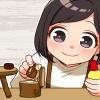 廃材を使った木工の工作に夢中な娘さん(*´▽`*)